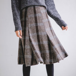 JUSTONE - Wool Blend Plaid Midi Flare Skirt
