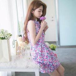 Tokyo Fashion - Sleeveless Floral A-Line Dress
