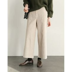 UPTOWNHOLIC - Corduroy Wide-Leg Pants