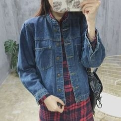 MePanda - Stand Collar Denim Jacket