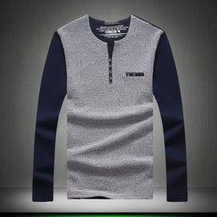 Alvicio - Color Panel Long Sleeve Henley T-Shirt