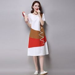 GLIT - Color Block Short Sleeve T-Shirt Dress