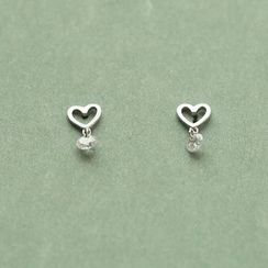 Love Generation - Rhinestone Sterling Silver Heart Earrings