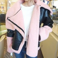 DABAGIRL - Funnel-Neck Faux-Shearling Biker Jacket