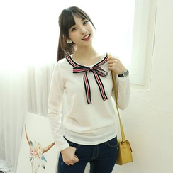 Dodostyle - Ribbon-Accent Round-Neck Top