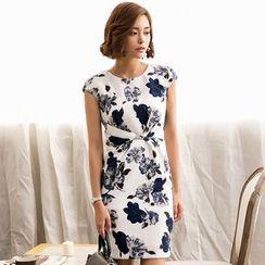 Eleganza - Short-Sleeve Floral Sheath Dress