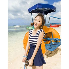 Vicki Vicki - Cap-Sleeve Striped Swimdress