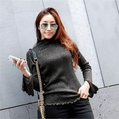 PIPPIN - Mock-Neck Frill-Edge Glittered Rib-Knit Top