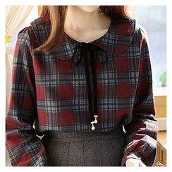 Sechuna - Peterpan-Collar Tie-Front Plaid Top