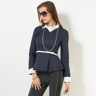 YesStyle Z - Shirt-Collar Denim Peplum Top with Belt