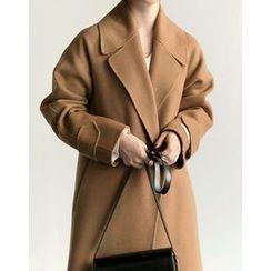 UPTOWNHOLIC - Hidden-Button Wool Blend Coat