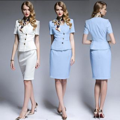 艾尚臣 - 套裝: 短袖飾扣夾克 + 純色短裙