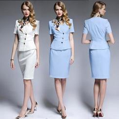 Aision - Set: Short-Sleeve Buttoned Jacket + Plain Skirt