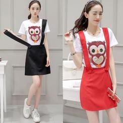 Romantica - 套装: 短袖亮片T恤 + 纯色背带短裙