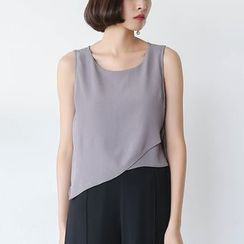 Sens Collection - Asymmetric Hem Lace Up Side Tank Top