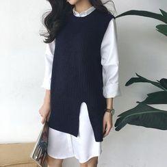 Moon City - Long Knit Vest / Long-Sleeve Plain Shirt Dress