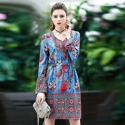 Queen Mulock - Long-Sleeve Printed Dress