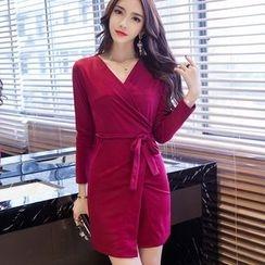 Clospace - V-Neck Long-Sleeve Sheath Dress