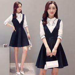Elinor - Long-Sleeve Mock Two Piece Dress
