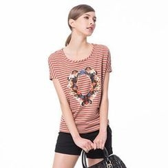 O.SA - Short-Sleeve Print Striped T-Shirt
