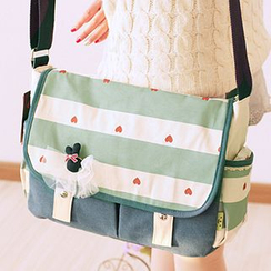 Canvas Love - Heart Print Messenger Bag
