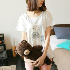 微米家 - 熊貼布繡T恤