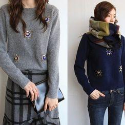 NIPONJJUYA - Sequin Bead Wool Blend Furry-Knit Top