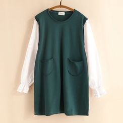 11.STREET - Two-Tone Pullover Dress