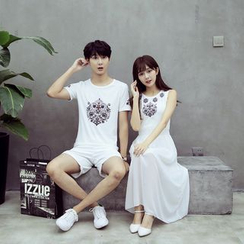 Evolu Fashion - Couple Matching Printed Short Sleeve T-Shirt / Printed Sleeveless Midi Dress