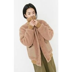 Someday, if - Dual-Pocket Faux-Shearling Jacket