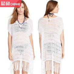 Morning Dew - Fringed Knit Cover-up