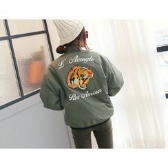 DANI LOVE - Lettering-Patch Embroidered Padded Flight Jacket