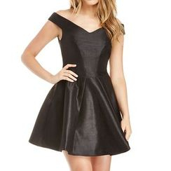 Obel - Plain V-Neck Sleeveless A-Line Dress