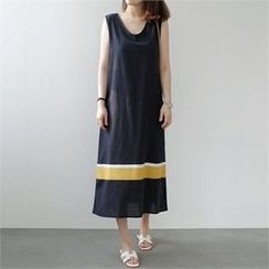 YOOM - Contrast-Trim Sleeveless Long Dress with Cord