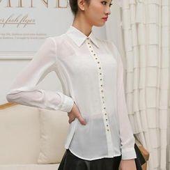 Colorful Shop - Long-Sleeve Chiffon Shirt