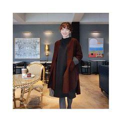 LEELIN - Wool Blend Open-Front Coat