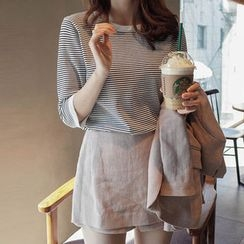 mimi&didi - 3/4-Sleeve Striped Knit Top