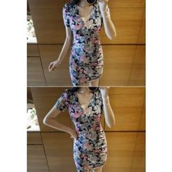 MyFiona - Short-Sleeve Floral Print Bodycon Dress
