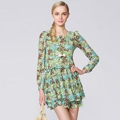 O.SA - Patterned Pleated Chiffon Dress
