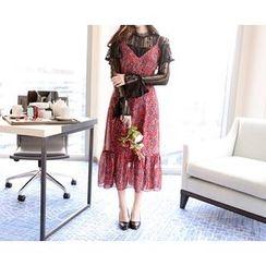 Marlangrouge - Spaghetti-Strap A-Line Chiffon Dress