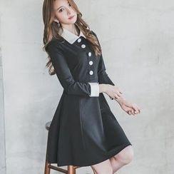 Angel Shine - Collared Long Sleeve A-Line Dress