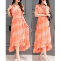 Dowisi - Elbow-Sleeve Print Midi Dress