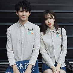 Azure - Couple Matching Embroidered Cat Long-Sleeve Shirt