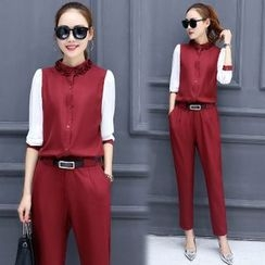 Mandalle - Set: Frill Trim Color Panel Long Sleeve Blouse + Pants