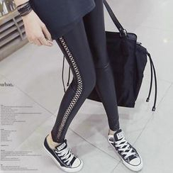 REDOPIN - Lace Up Detail Faux-Leather Leggings