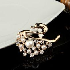 Glitglow - 水鑽珠飾天鵝胸針