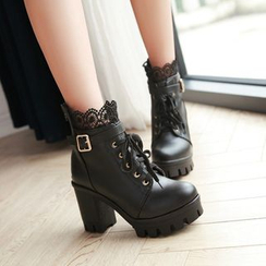 Shoes Galore - Lace Panel Block Heel Lace-Up Short Boots