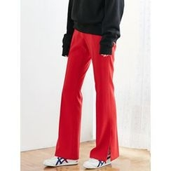 FROMBEGINNING - Slit-Hem Boot-Cut Dress Pants