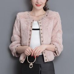 Wisteria - 3/4-Sleeve Studded Furry Jacket