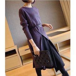 YIDIYU - Asymmetric Hem Long Sweater